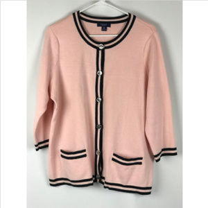 Chaps 1X Pink Black Button Front Cardigan Sweater